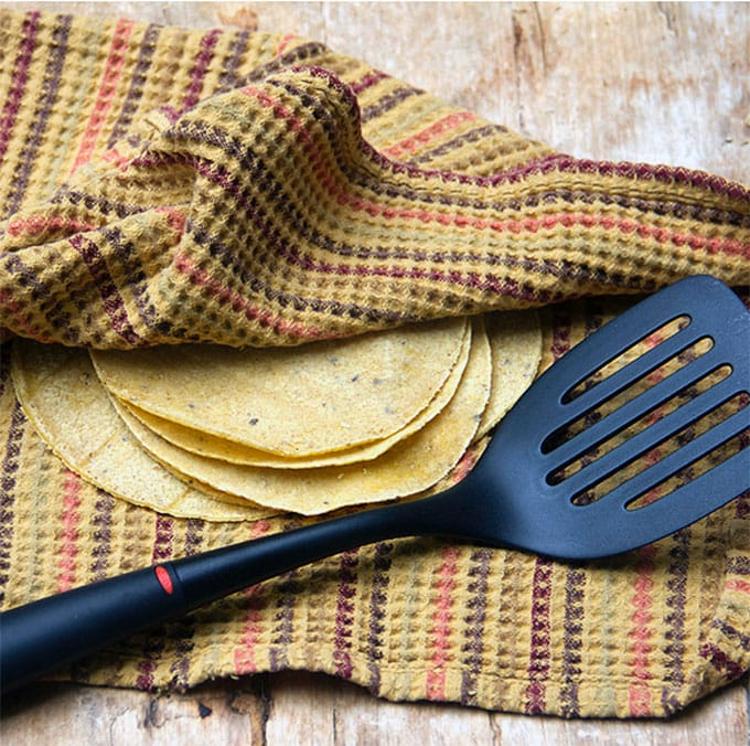warmed corn tortillas