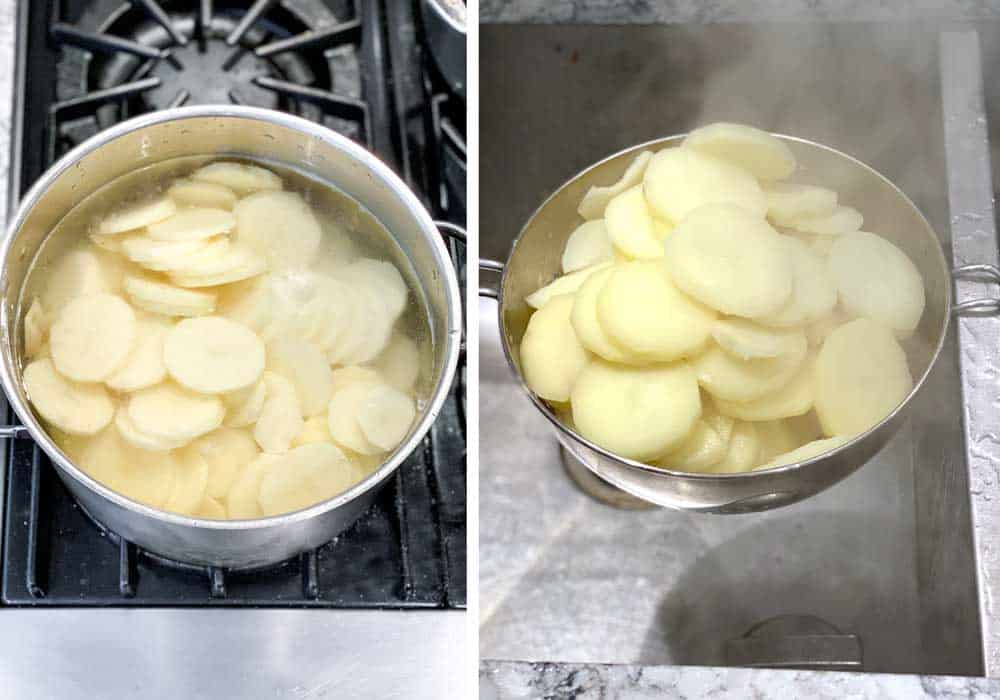 pot of thinly sliced potatoes in water, ready for boiling, second photo show the cooked potatoes draining in a metal colander.
