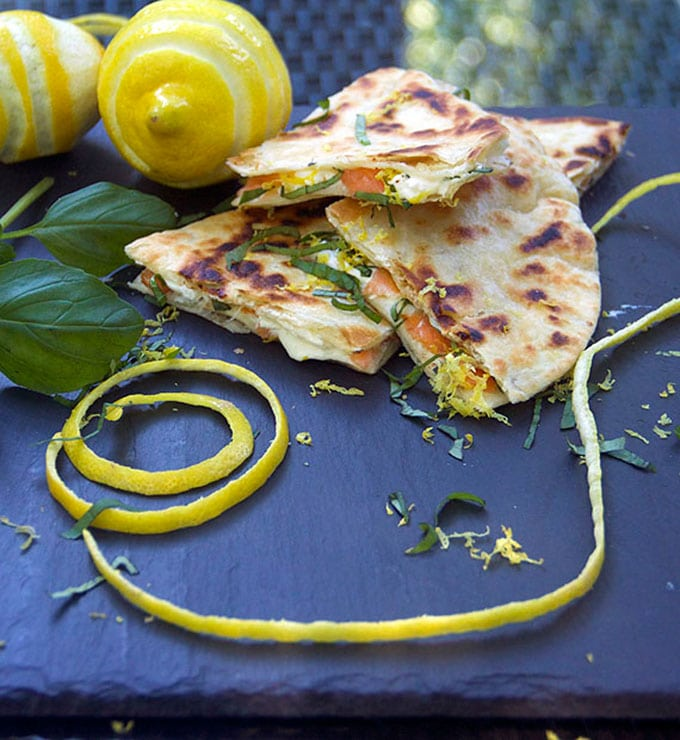 Smoked Salmon Quesadillas with lemon, basil and goat cheese - Brunch!
