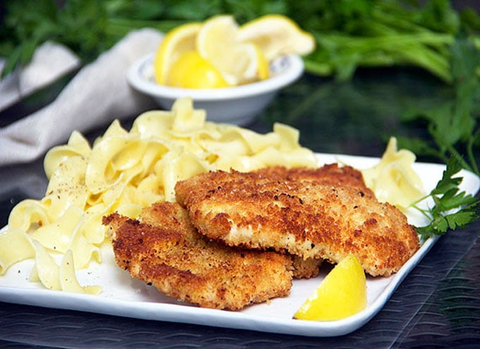 delicious chicken schnitzel with noodles recipe by Panning The Globe
