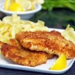Chicken Schnitzel, crisp on the outside, tender inside