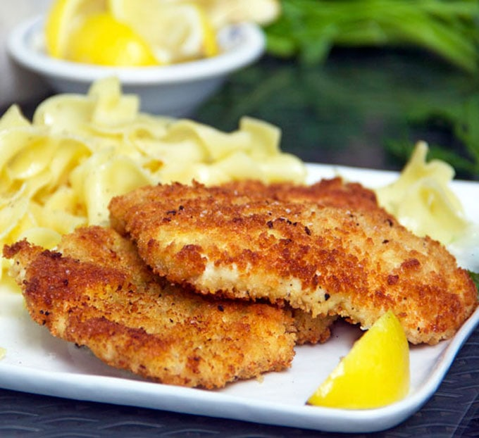 Chicken Schnitzel, crisp on the outside, tender inside