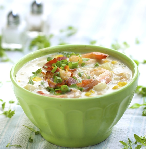shrimp and corn chowder recipe by panning the globe