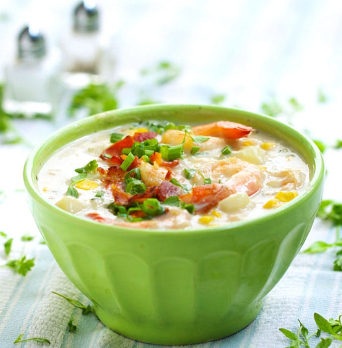 Shrimp and Corn Chowder - a delicious lightened-up version of a comforting classic