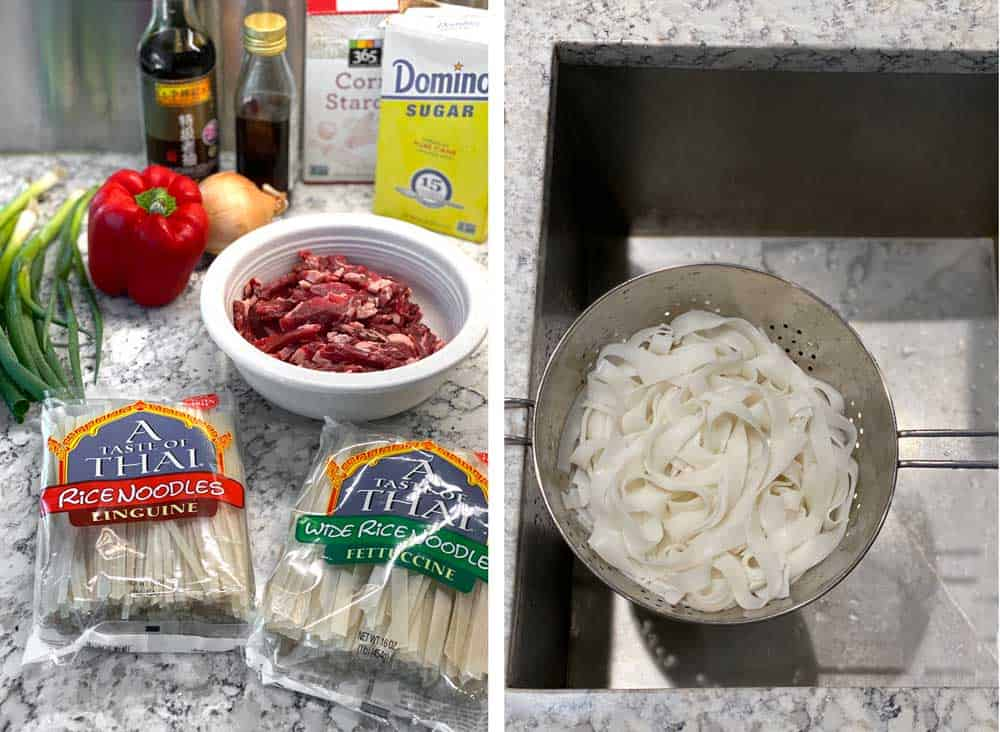 ingredients for making beef chow fun: sliced beef in a bowl, bags of dried rice noodles, a red bell pepper, an onions, some scallions, sugar, corn starch, dark soy sauce and sesame oil, another photo of softened rice noodles draining in a colander over the sink