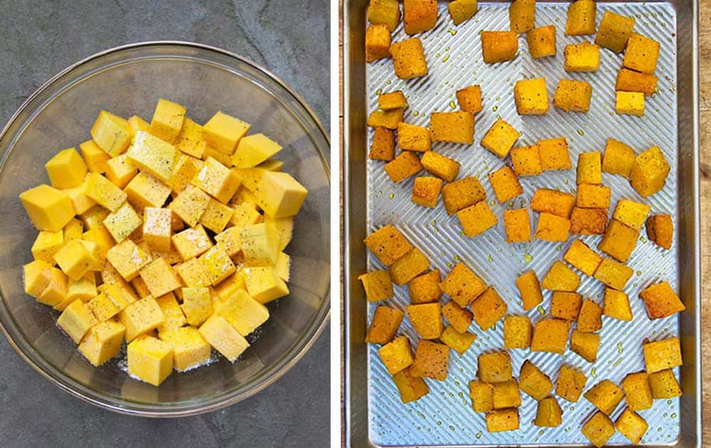 butternut squash cubes in a bowl and then shown on a baking sheet after they've been roasted