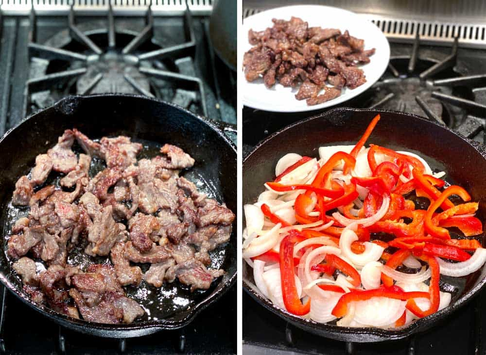 how to make beef chow fun, showing the steak sautéing in a cast iron skillet and then showing the onions and peppers cooking in the skillet with the steak on a plate in the background