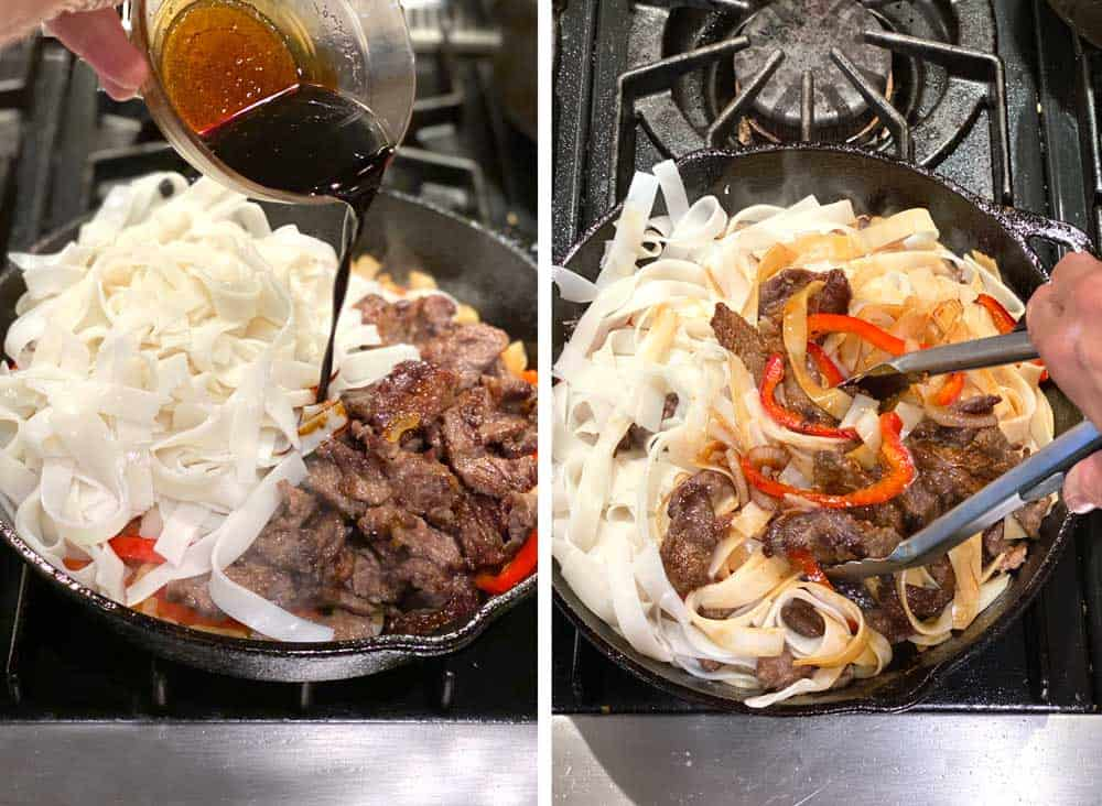 Beef chow fun sauce being poured from above into a skillet with beef, rice noodles, peppers and onions. Next photo shows the mixture being tossed in the skillet using tongs