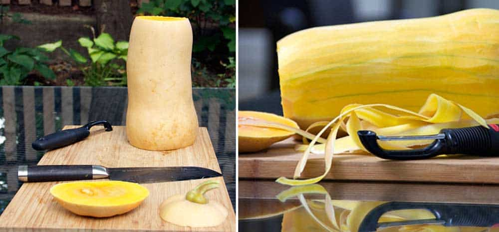 2 photos showing how to prepare butternut squash: a butternut squash with the end sliced off and a vegetable peeler showing how to peel the skin off