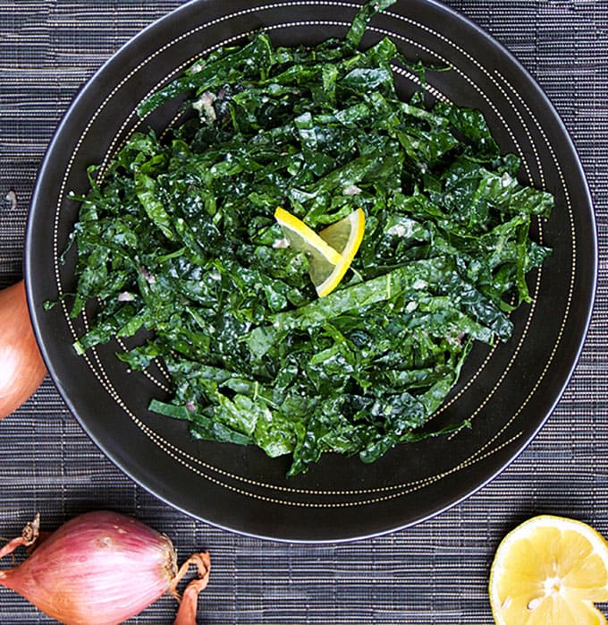 Kale Salad with the most delicious honey lemon shallot dressing