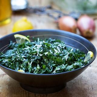 Raw Kale Salad with Honey Lemon and Parmesan