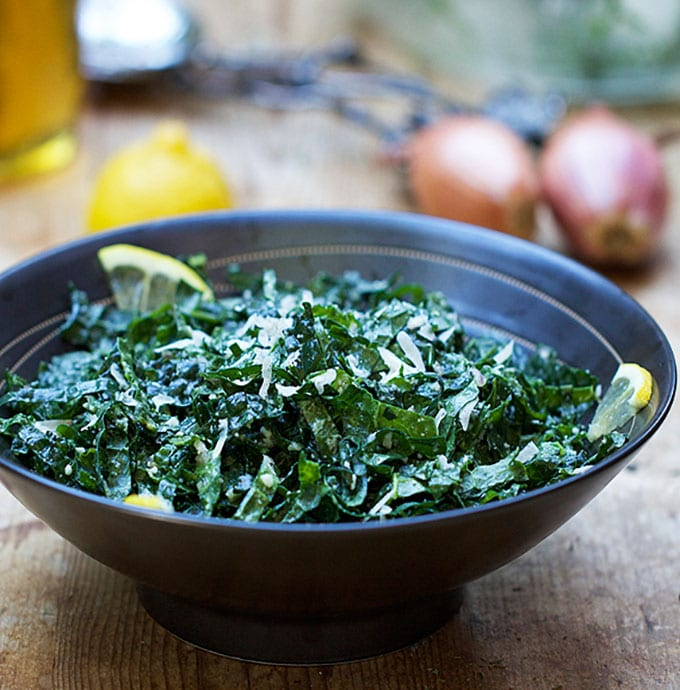 Kale Salad with Honey Lemon and Parmesan | Panning The Globe