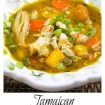 Bowl of Jamaican curried chicken stew