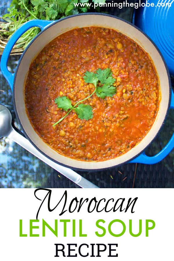 This beautifully-spiced Moroccan Lentil Soup is hearty enough for dinner. Super healthy, low fat, protein-packed, gluten free, easily vegan. #LentilSoup #Healthy #DinnerSoup #Vegan #Vegetarian #glutenFree #Soup #Recipe
