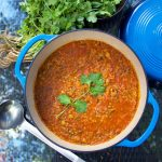 This Moroccan Lentil Soup is hearty, healthy and flavored with beautiful fragrant spices that characterize Moroccan Cuisine