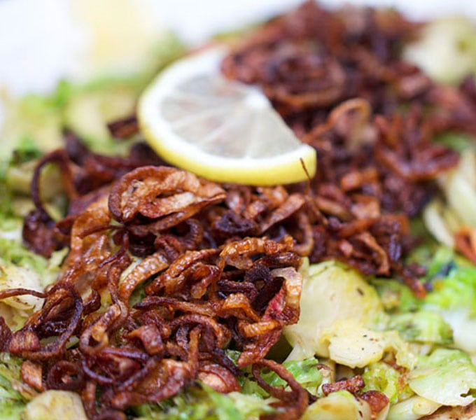 pan browned Shredded Brussels Sprouts with Crispy Fried Shallots