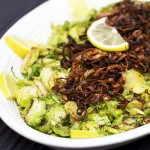 SHREDDED PAN BROWNED BRUSSELS SPROUTS with CRISPY FRIED SHALLOTS