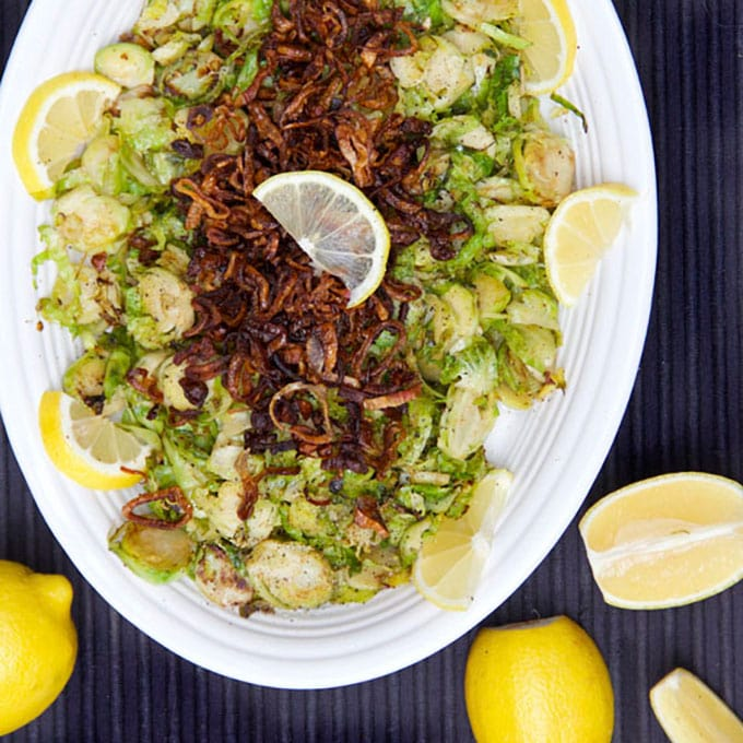 Shredded Pan-Browned Brussels Sprouts with Crispy Fried Shallots | Panning The Globe