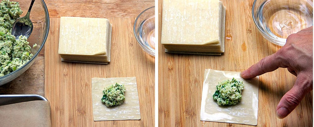 a stack of wonton wrappers with one on the cutting board toped with a blog of turkey kreplach stuffing