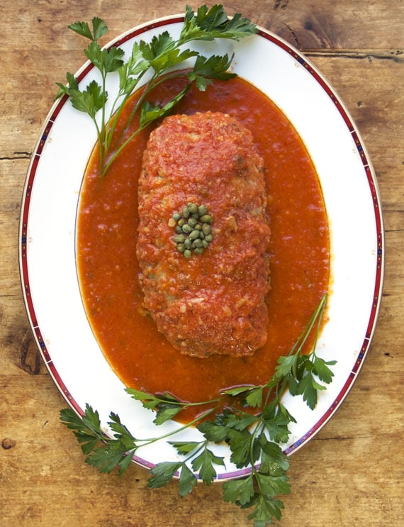 sicilian turkey meat loaf with potatoes capers and wine print