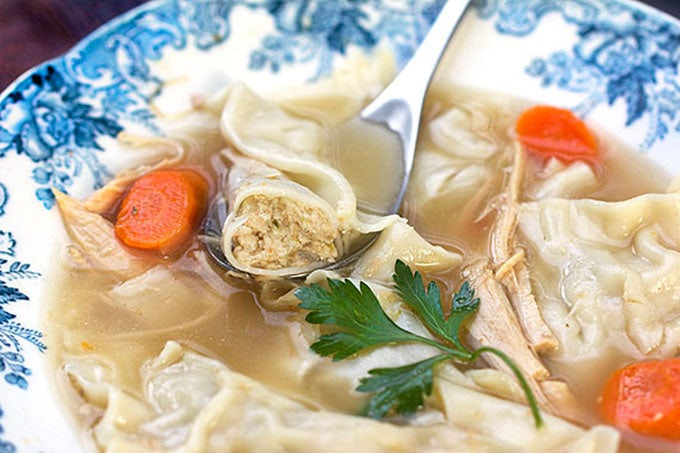 Turkey Kreplach Soup by Panning The Globe