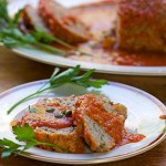This Sicilian Turkey Meatloaf is unique and incredibly delicious: ground turkey mixed with mashed potatoes and simmered in wine-scented tomato sauce.