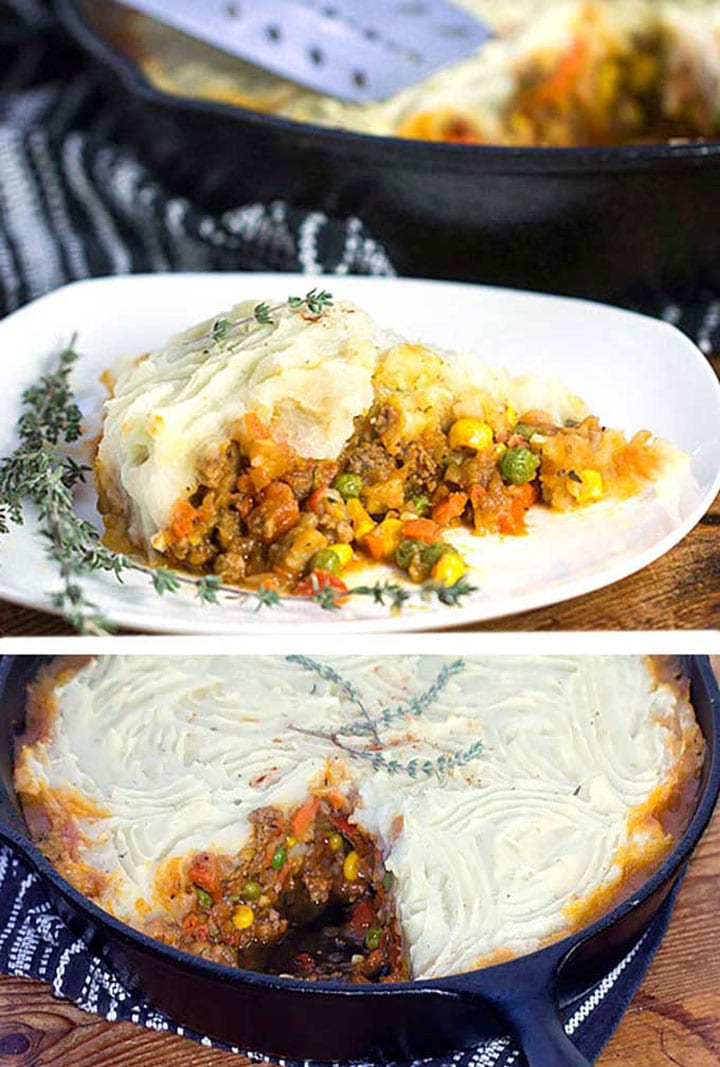 a slice of shepherd's pie on a white plate and a cast iron skillet filled with shepherd's pie that has a slice cut out of it.