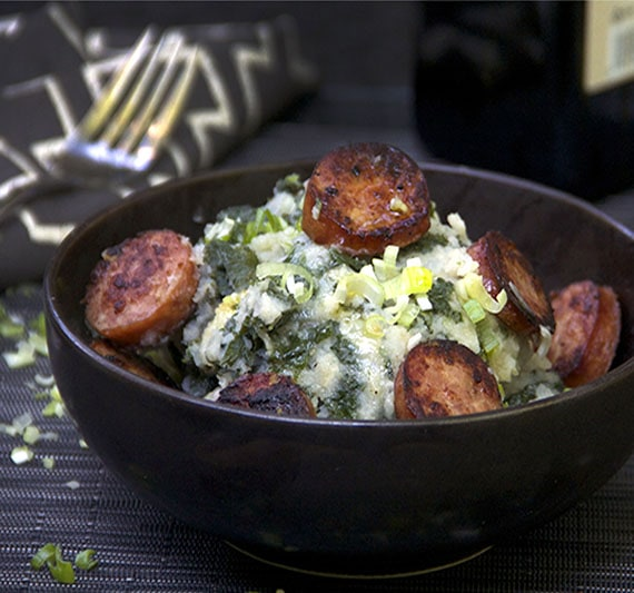 Dutch Stamppot: kale and potato mash with smoked sausages