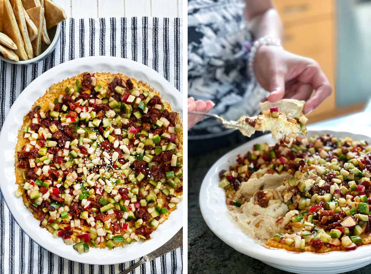 Turkish layered hummus in a round pie pan and a shot of someone scooping some hummus onto a pita triangle