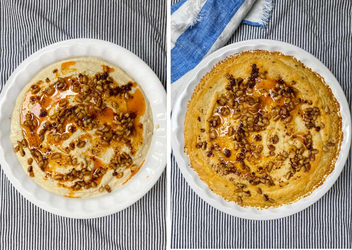 Turkish layered hummus topped with pine nuts and spiced butter, before and after baking