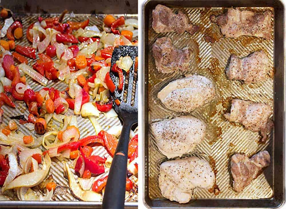 a baking tray of roasted peppers, carrots and onions, and a roasted tray with boneless chicken breasts and thighs