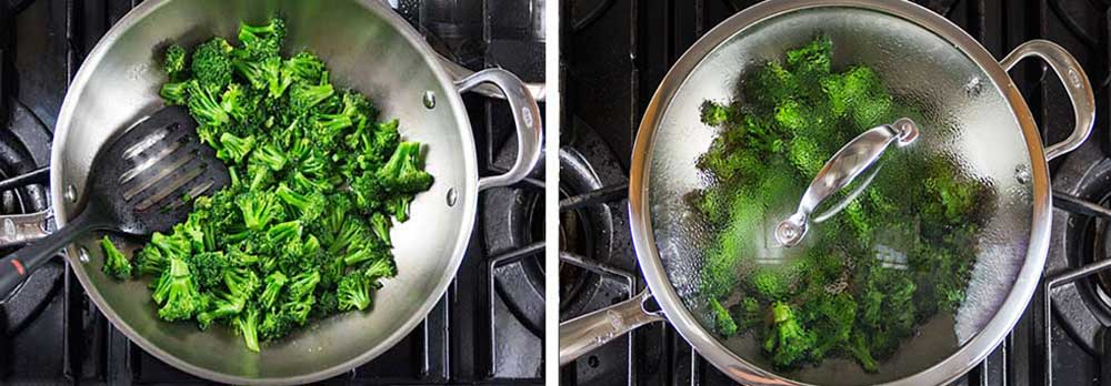 Two overhead photos of a wok, one of broccoli florets being stir-fried, the other - a clear glass cover is on the wok so the broccoli can steam