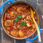 Chicken Cacciatore with Roasted Vegetables and Potatoes