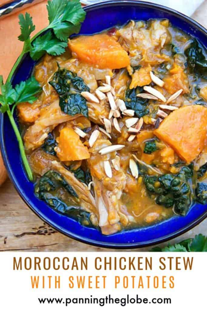Pinterest pin: moroccan chicken stew with sweet potatoes and kale in a blue bowl