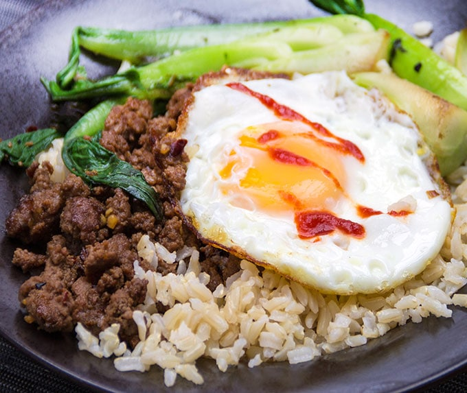 Quick Thai Beef Bok Choy Rice Bowl - Dinner in 20 minutes - Panning The Globe