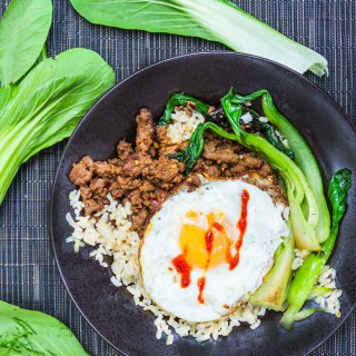 Quick Thai Beef Bok Choy Rice Bowl