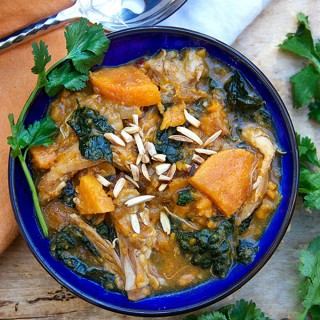 North African Chicken Stew with Sweet Potatoes Apricots and Kale | Panning The Globe