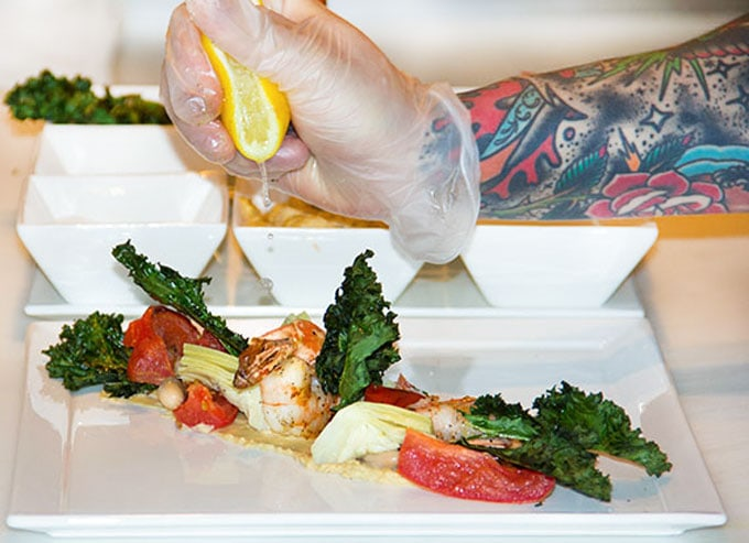 This healthy shrimp salad recipe from Canyon Ranch's chef Kyle looks elegant and fancy but it's a surprisingly easy recipe to put together and great dish for brunch or lunch l www.panningtheglobe.com