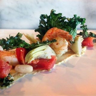 Shrimp with White Beans and Crispy Kale