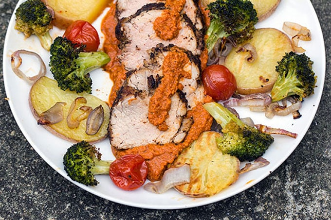 Spice crusted pork with Spanish Romesco sauce