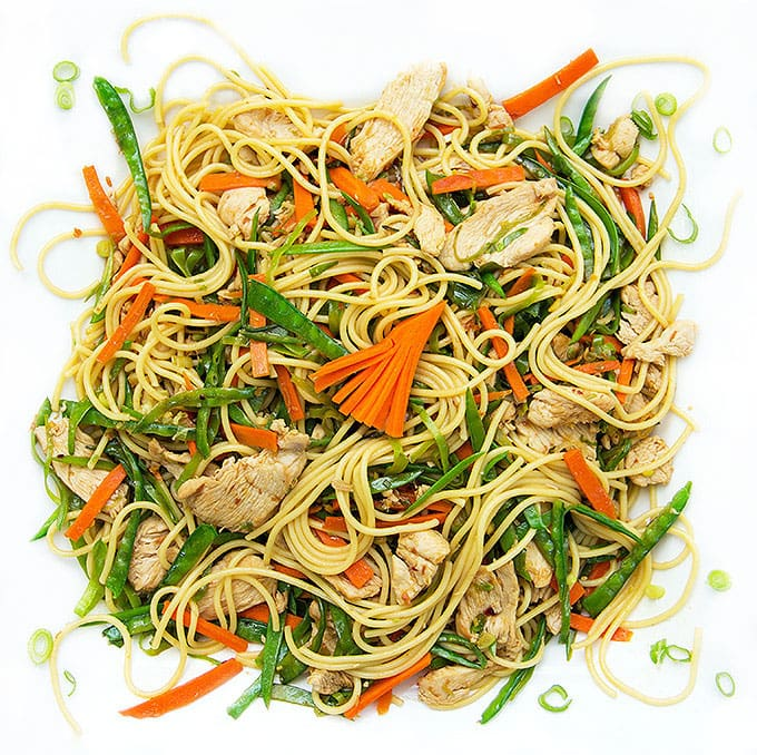 A quick Chicken and vegetable stir fry with noodles.