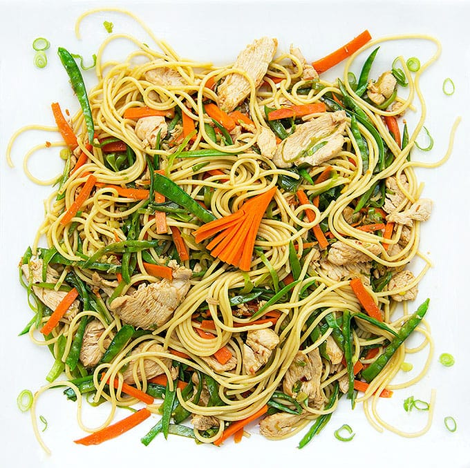 7 Flavor Precious Chicken: a quick, delicious stir-fry with chicken, vegetables and noodles