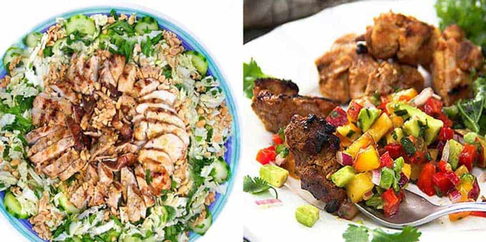 Asian cabbage salad with grilled chicken and shiitake mushrooms on a large round plate and a plate of bite-sized pieces of Mexican spiced grilled chicken with nectarine salsa