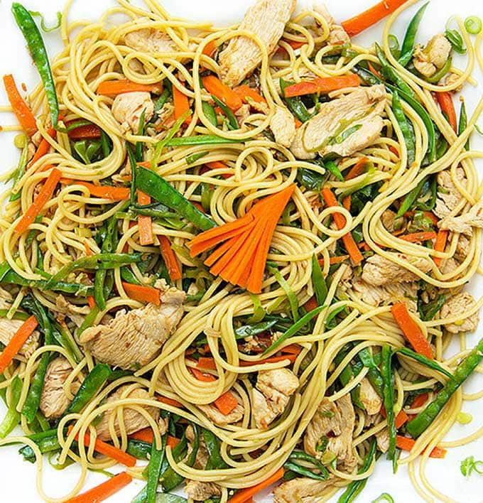 Chicken and vegetable stir fry with noodles