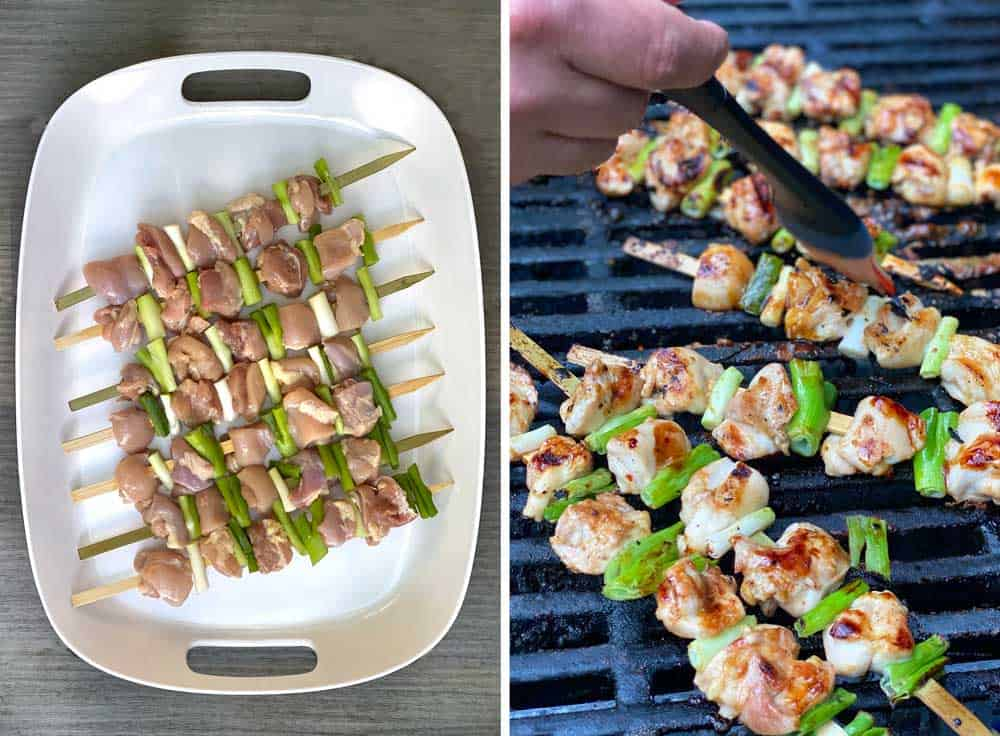 7 uncooked skewers of yakitori chicken and scallions on a white tray, next shot shows the skewers cooking on the barbecue grill