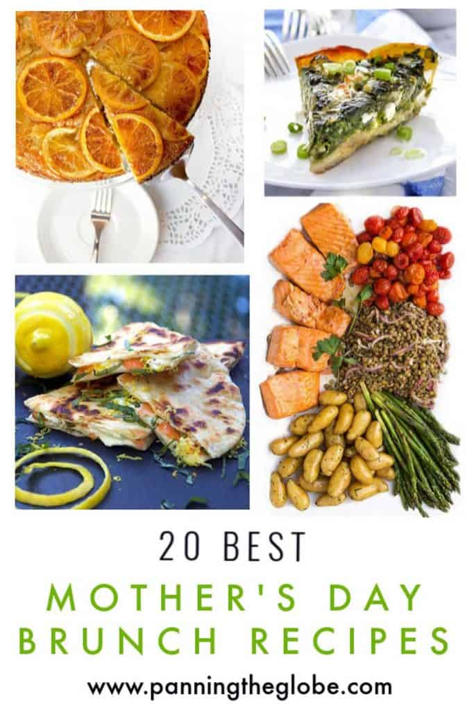 collage of 4 of Panning The Globe's best mother's day brunch recipes: orange vanilla upside down cake, Greek spinach pie, Smoked Salmon quesadillas and salmon nicoise salad