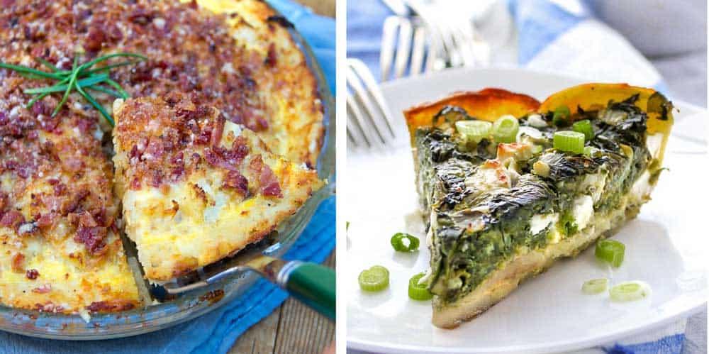 Cauliflower tart with potato crust and spinach pie with potato crust