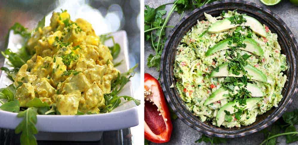 curried chicken salad and avocado chicken salad side by side