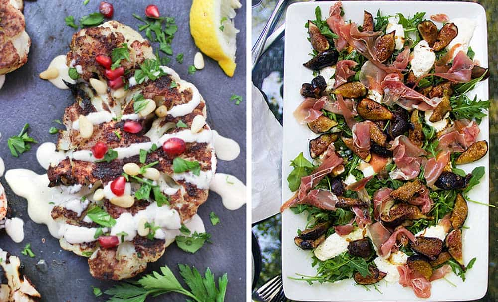 a slice of grilled cauliflower shawarma with tahini sauce, parsley and pomegranate seeds, a platter of grilled figs with prosciutto and burrata