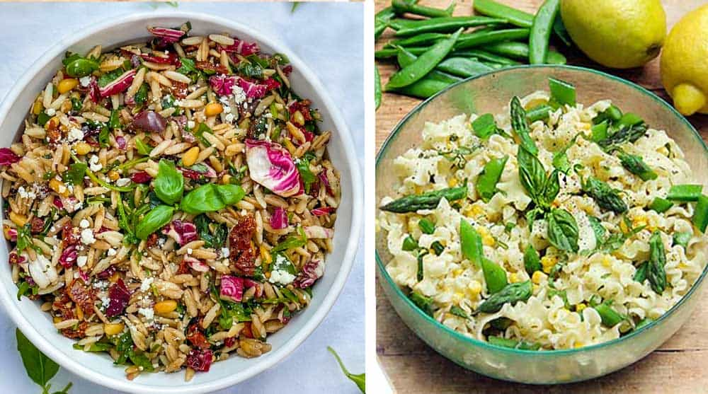 bowl of colorful orzo pasta salad and bowl of pasta with corn and snap peas